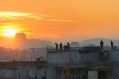 日落的建造场所在圣地亚哥 库存照片
