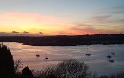 日落的彭布罗克角船坞 库存照片
