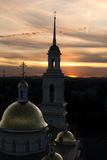 日落的教会 库存图片