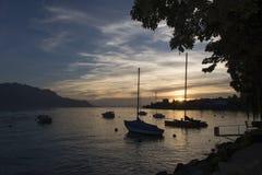 日落的日内瓦湖 图库摄影