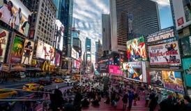 日落的时代广场-纽约,美国 免版税库存图片