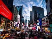 日落的时代广场-纽约,美国 免版税图库摄影