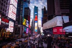 日落的时代广场-纽约,美国 图库摄影
