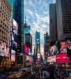 日落的时代广场-纽约,美国 库存照片
