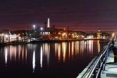 日落的波士顿港口,美国 免版税库存图片