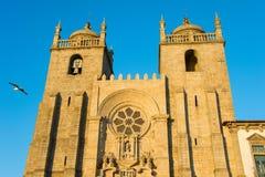 日落的波尔图大教堂 葡萄牙 免版税库存照片