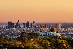 日落的洛杉矶摩天大楼 库存图片