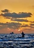 日落的渔夫 图库摄影