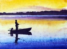 日落的渔夫 免版税图库摄影