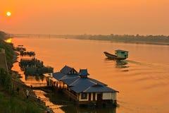 日落的湄公河 免版税库存照片