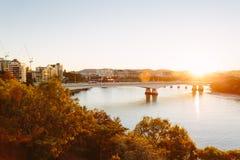 日落的现代澳大利亚城市 免版税图库摄影