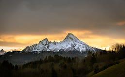 日落的瓦茨曼, Berchtesgadener土地,德国 库存图片
