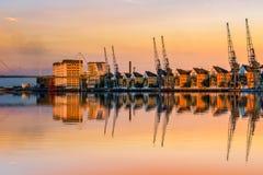 日落的皇家维多利亚船坞 免版税库存照片