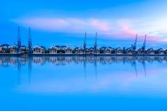 日落的皇家维多利亚船坞 免版税图库摄影