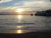 日落的皮吉特湾 免版税库存图片
