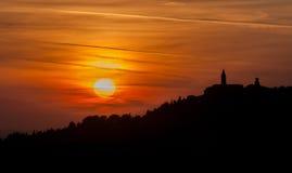日落的皮恩扎镇,托斯卡纳,意大利 库存图片