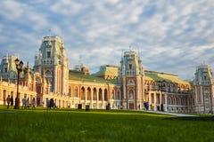 日落的盛大Tsaritsyno宫殿 免版税库存照片