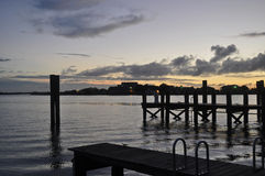 日落的码头 免版税库存图片