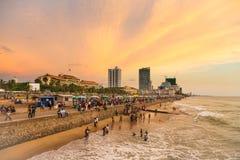 日落的科伦坡沿海岸区 免版税库存图片