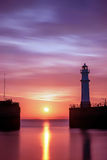 日落的纽黑文港口 免版税库存照片