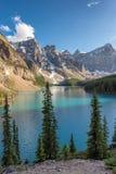 日落的美丽的梦莲湖,垂直 库存图片
