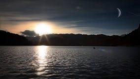 日落的美丽Bled's湖 影视素材
