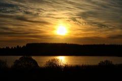 日落的美好的风景在湖和杉树的 免版税图库摄影