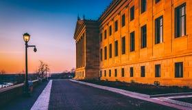 日落的美术馆,在费城,宾夕法尼亚 库存照片
