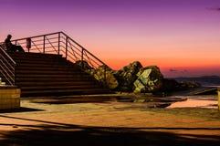 日落的船坞 库存图片