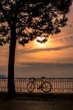日落的莱芒湖 免版税图库摄影