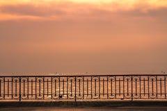 日落的莱芒湖 免版税库存图片