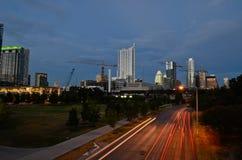 日落的街市奥斯汀得克萨斯 库存照片