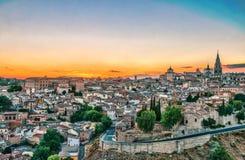 日落的西班牙托莱多 库存照片