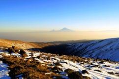 日落的阿勒山 图库摄影