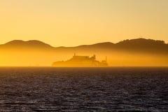 日落的阿尔卡特拉斯岛,旧金山,加利福尼亚,美国 库存照片