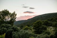 日落的风景在山的 图库摄影