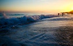 日落的风景在海洋的 免版税库存图片
