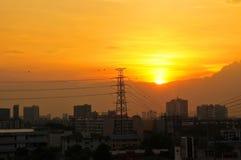 日落的风景本质在晚上 免版税库存照片