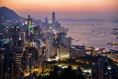 日落的香港CBD 库存照片