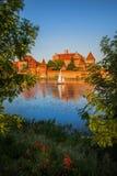 日落的马尔堡城堡在波兰 免版税库存图片