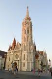 日落的马赛厄斯教会 免版税库存图片