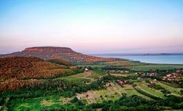 日落的,匈牙利湖Balaton 免版税库存图片