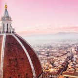 日落的,城市地平线佛罗伦萨 佛罗伦萨中央寺院 Basilica Sa di 免版税库存照片