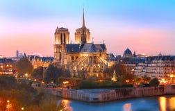 日落的,巴黎,法国巴黎圣母院 库存图片