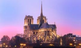 日落的,巴黎,法国巴黎圣母院 免版税图库摄影