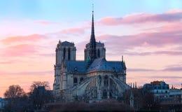 日落的,巴黎,法国巴黎圣母院 免版税库存照片
