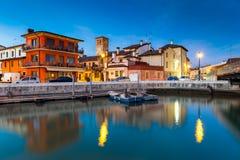 日落的,意大利马拉诺拉古纳雷 免版税库存图片
