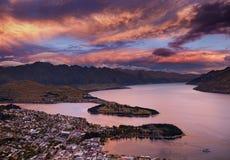 日落的,新西兰昆斯敦 免版税库存照片