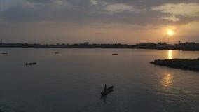 日落的,科纳克里,几内亚渔夫 影视素材