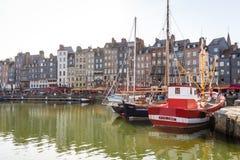 日落的,翁夫勒,诺曼底,法国,欧洲老港口 库存图片